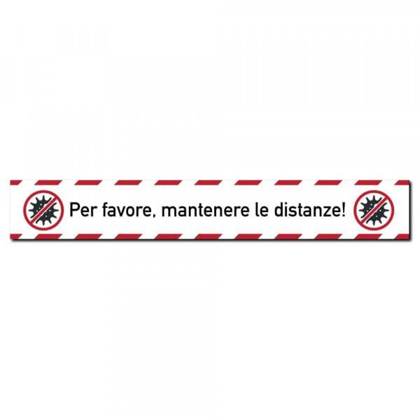 """Adesivi per pavimenti (x3) - """"Per favore, Mantenere le distanze!"""" (700x100 mm)"""