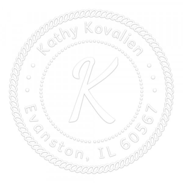 Timbro a Secco Rotondo Monogram Iniziale con bordo di corda