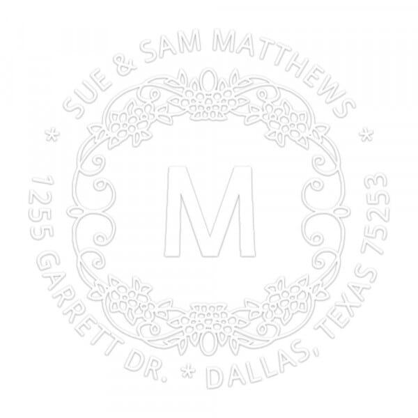 Timbro a Secco Rotondo Monogram Iniziale con bordo decorato