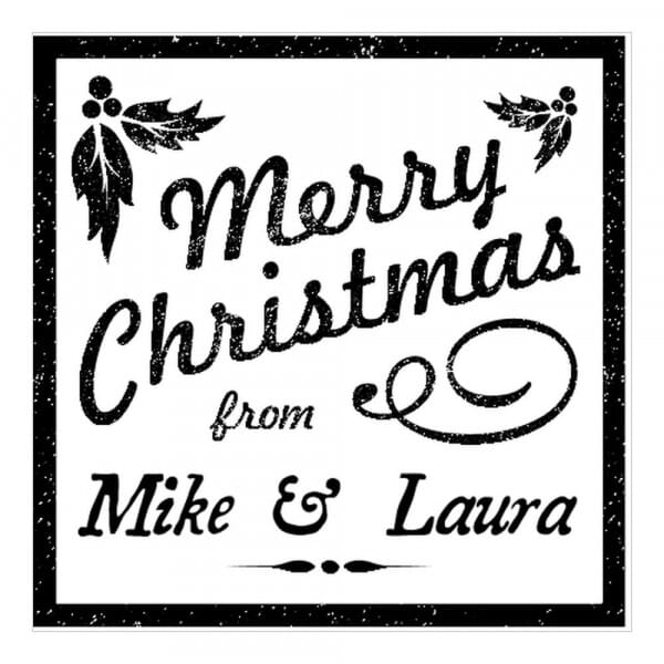 Timbro Quadrato Monogram Agrifoglio natalizio
