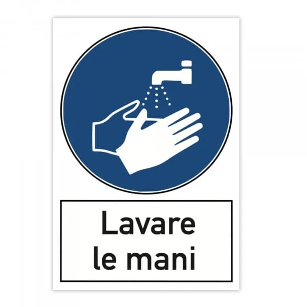 Segnale di pericolo (x2) - Lavare le mani (200x300 mm)