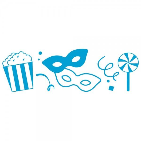 LET'S PARTY Printy 4910 - Simboli carnevale - blu