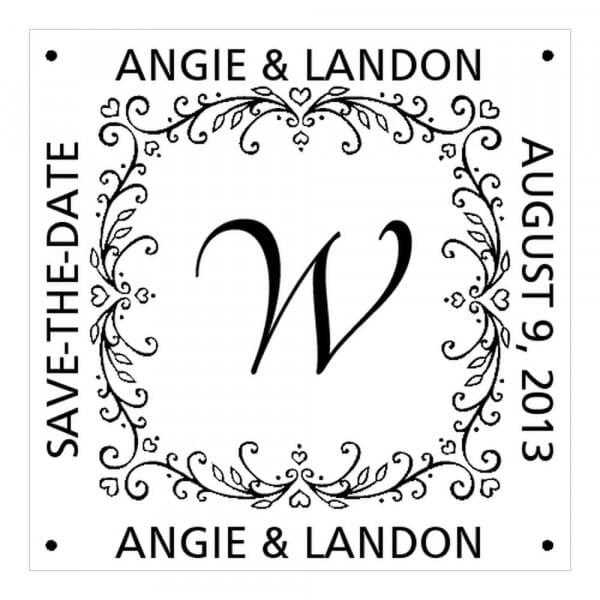 Timbro Quadrato Monogram Save the date con cuori e viti