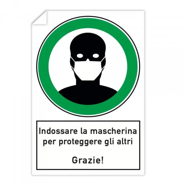 Adesivi 10 pezzi - Indossare la mascherina per proteggere gli altri (200x300 mm)