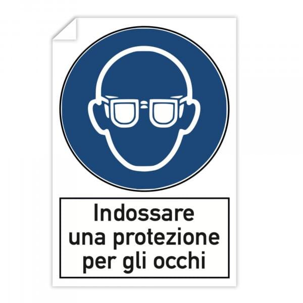 Adesivi 10 pezzi - Indossare una protezione per gli occhi (200x300 mm)