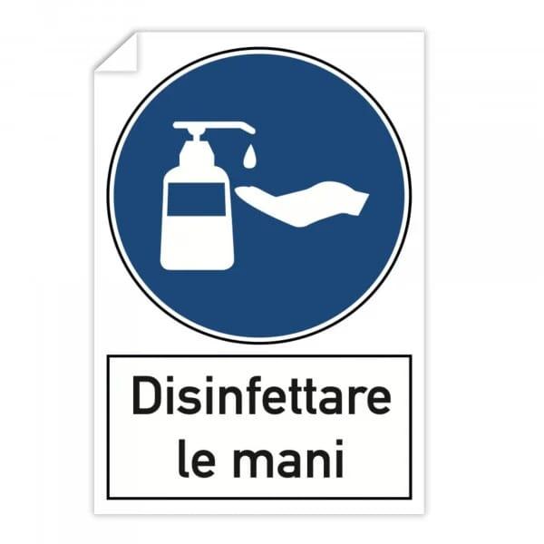 Adesivi 10 pezzi - Disinfettare le mani (200x300 mm)