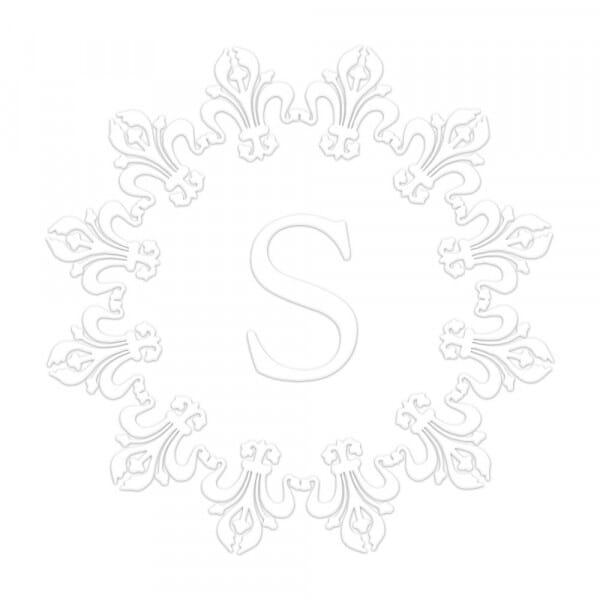 Timbro a Secco Monogram Cornice di gigli Rotondo