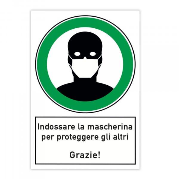 Segnale di pericolo (x2) - Indossare la mascherina per proteggere gli altri (200x300x4 mm)