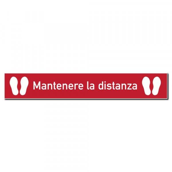 Adesivo per pavimenti rosso (x3) - Mantenere la distanza (1000x150 mm)