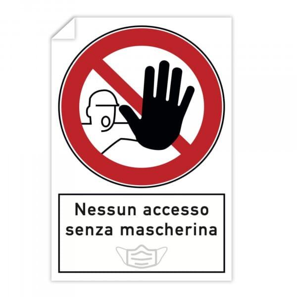 Adesivi 10 pezzi - Nessun accesso senza mascherina (200x300 mm)