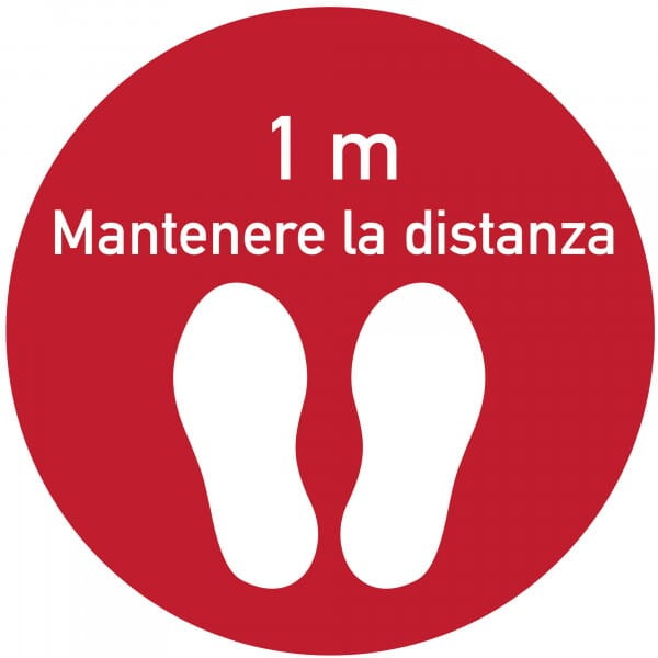Adesivo per pavimenti rosso (x3)- Mantenere la distanza (400x400 mm)