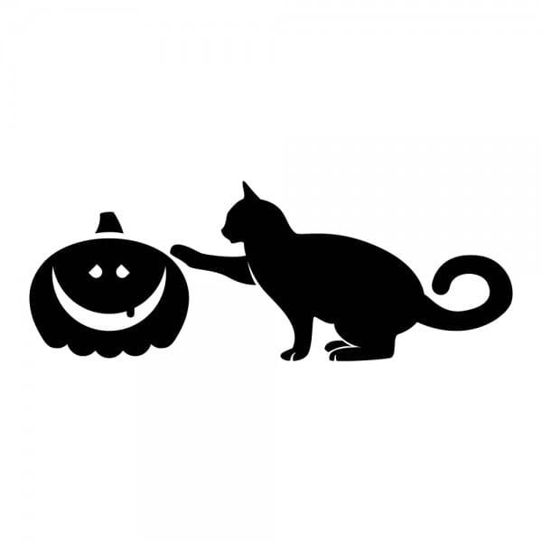 HAPPY HALLOWEEN Printy 4910 - gatto nero - nero