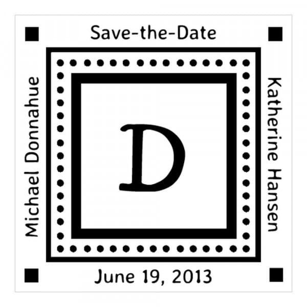 Timbro Quadrato Monogram Save the date con iniziale