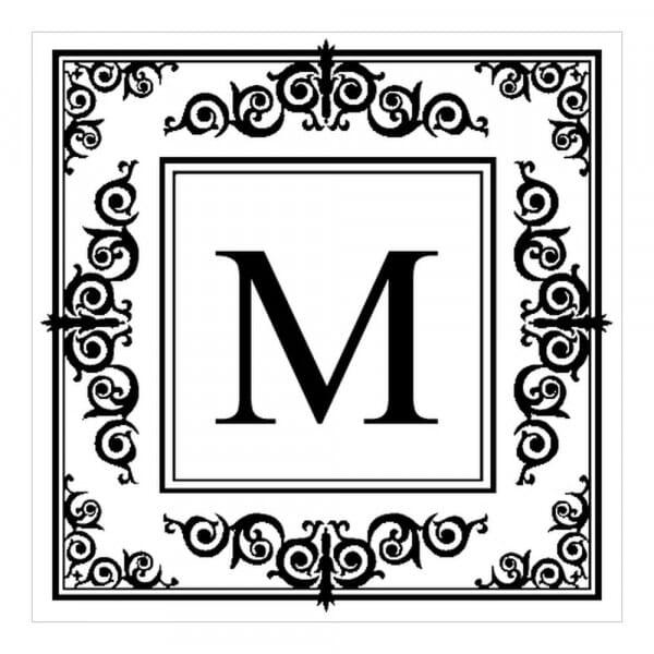 Timbro Quadrato Monogram Iniziale con bordo decorato