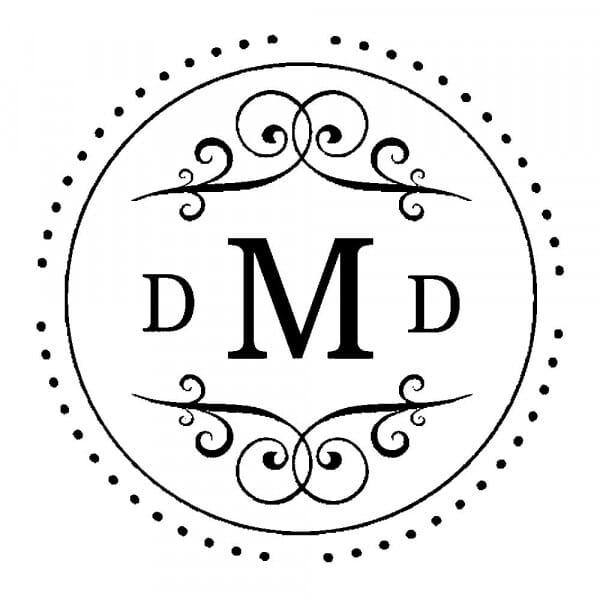 Timbro Rotondo Monogram Tre iniziali con decori fantasia
