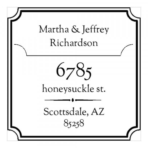 Timbro Quadrato Monogram Nome e indirizzo