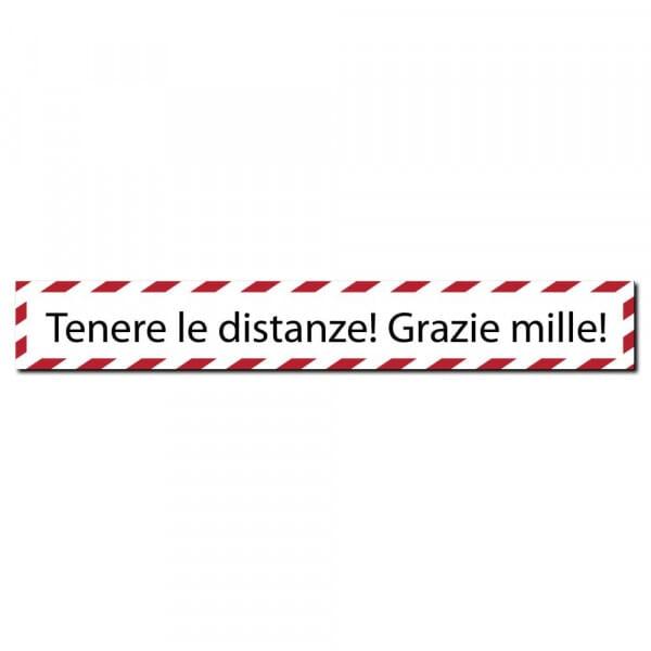 """Adesivo per pavimenti (x3) - """"Tenere le distanze! Grazie mille!"""" (700x100 mm)"""