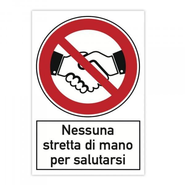 Cartello di divieto (x2) - Nessuna stretta di mano per salutarsi (200x300 mm)